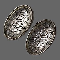 Vintage Mirror Glass Rhinestone Cabochons Clip Earrings