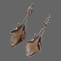 Faceted Smoky Quartz Rhinestone Earrings