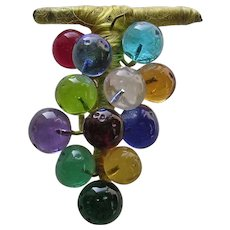 Vintage Homemade Multicolor Bunch of Grapes Glass Brooch