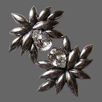 Large Italian Silver Plated Rivoli Set Earrings