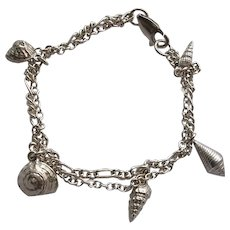2 Strand Sterling Silver Bracelet with Sea Shell Charms