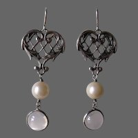 Sterling Silver Moonstone and Pearl Heart Shaped Earrings