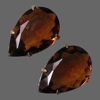 Smoked Topaz Pear Shaped Rhinestone Clip Earrings