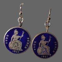 Victorian 1851 Four Pence Enameled Britannia Coin Earrings