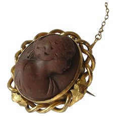 Victorian Lava Cameo Brooch with Safety Chain