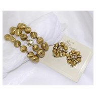 Capri Gilded Bead & Rhinestone Memory Bracelet & Clip Earrings