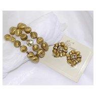 Capri Gilded Bead & Rhinestone Memory Bracelet & Clip Earrings