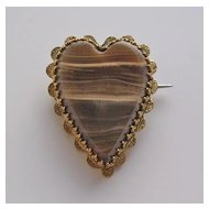 English Victorian 9Kt Gold and Onyx Heart Shape Sweetheart Brooch