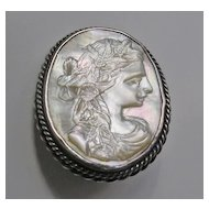 Victorian Silver Carved Mother of Pearl Cameo Brooch