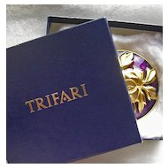Large Boxed Trifari Enamel Brooch & Earrings