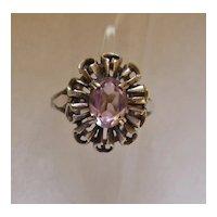 Vintage Sterling Silver and Amethyst Rhinestone Ring