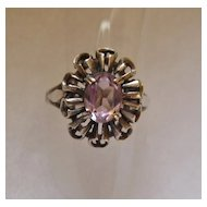 Vintage Sterling Silver and Amethyst Rhinestone Ring