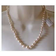 Vintage Graduated Imitation Pearl Necklace with Sterling Silver Clasp