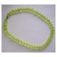 Art Deco Molded Vaseline Glass Bead Necklace
