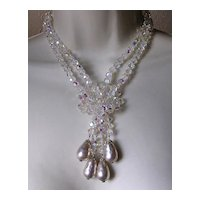 Fabulous Aurora Crystal Baroque Faux Pearl & Rhinestone Clasp Necklace