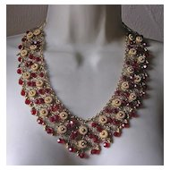 Gorgeous Vintage Red Glass Bead Filigree Bib Necklace & Earrings Demi-Parure