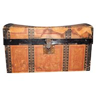 Antique Doll Trunk With Original Tray