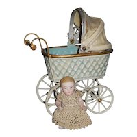 Antique Marklin Type Carriage and Bisque Baby