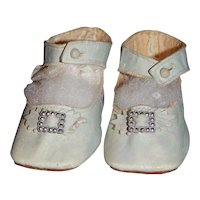 Antique Light Blue Leather German Doll Shoes