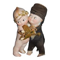 "4"" Antique All Bisque Kewpie Hugging Bride & Groom With Wings"