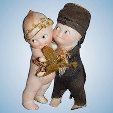 """4"""" Antique All Bisque Kewpie Hugging Bride & Groom With Wings"""