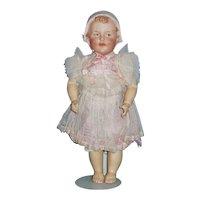 "10"" RARE Gebruder Heubach Toddler W/Molded Pink Bonnet"