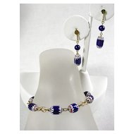 Vintage Glass Beaded Bracelet and Earrings Demi Parure with in Cobalt Blue