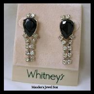 WHITNEY Simulated Black Onyx and Clear Rhinestone Dangle Earrings