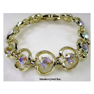 PAKULA Collectible Heart Bracelet with Aurora Borealis Rhinestones