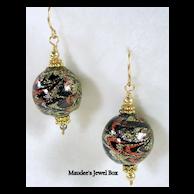 Dangle Black, Gold, Silver, Copper Enamel Pierced Earrings