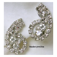 Vintage Rhinestone Paisley Design Silver Tone Clip Earrings-Beautiful!