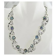 Vintage Necklace Choker in Silver  Tone Leaf Design and Aurora Borealis Stones Link Chain – Stunning!