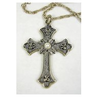 Sarah Coventry Limited Edition Cross with Simulated  Pearl in Antique Gold  Tone with Chain – c. 1975