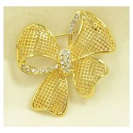 Vintage Bow Brooch Pin with Crystal Rhinestones in Gold  Tone