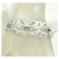 Signed Coro Open Design Dome Link Bracelet in Silver  Tone – Stunning!