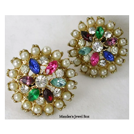 Simulated Gemstones and Simulated Pearl Round Clip Earrings