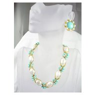 Vintage Crown Trifari Faux Turquoise and Faux Pearl Necklace and Earrings in Gold Tone – Beautiful!