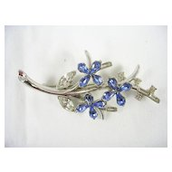 Signed Alfred PhilippeTrifari Vintage Floral Brooch in Silver Tone with Blue Rhinestones – Stunning!