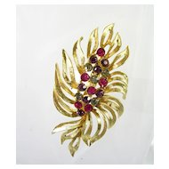 Collectible Rhinestone and Leaf Design Brooch Pin in Gold Tone
