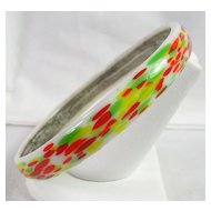 Multi Color Glass Bangle Bracelet
