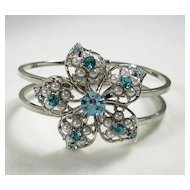 Vintage Filigree Flower Bracelet with Topaz Colored Rhinestone Crystals and Simulated Pearls in Silver  Tone