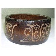 Vintage Wooden Bracelet in Dark Brown with Ornate Etching