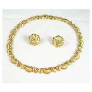 Signed and Numbered Boucher Necklace Choker and Earrings in Gold Tone – Exquisite!