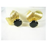 Vintage Golden Leaf Earrings with Large Simulated Onyx Stones – Beautiful