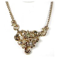 Vintage Floral Bouquet Rhinestone Necklace Gold Tone