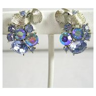 Signed Lisner Floral Blue Aura Borealis Rhinestone Clip Earrings in Silver Tone – Stunning!