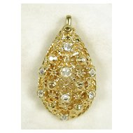Signed Barrera for Avon Vintage Pendant Pearl Clip with Rhinestones and Gold  Tone