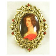 Signed ART – Cameo Style Brooch Pin in Gold Tone