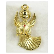 Angel with Halo Brooch Pin in Gold Tone