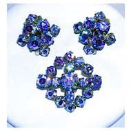 Signed West Germany Brooch Pin and Earrings with Blue Aurora Borealis